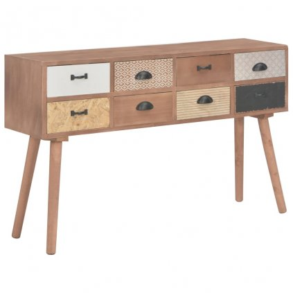 Konzolový stolek s 8 zásuvkami - masivní borovice | 120x30x76 cm