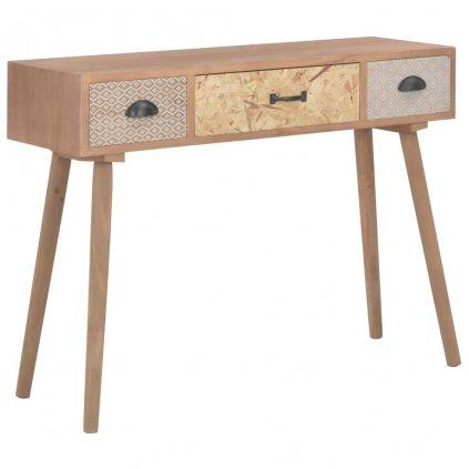 Konzolový stolek se 3 zásuvkami - masivní borovice | 100x30x73 cm