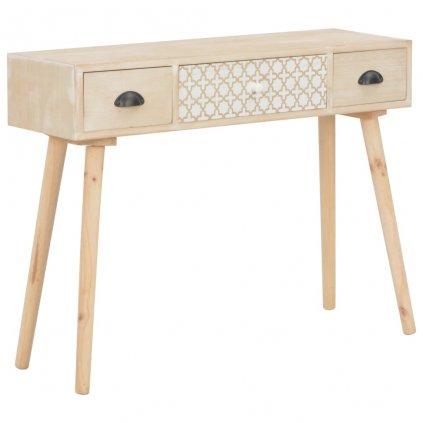 Konzolový stolek Tasav se 3 zásuvkami - masivní borovice | 100x30x73 cm