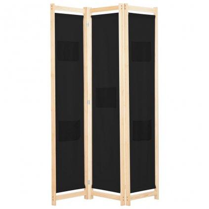 3-dílný paraván - textil - černý   120x170x4 cm