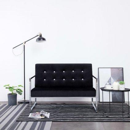 2-místná pohovka s područkami - chrom a samet   černá