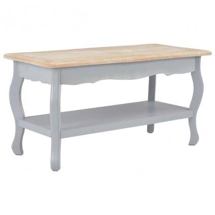 Konferenční stolek - šedý a hnědý - masivní borovice | 87,5x42x44 cm