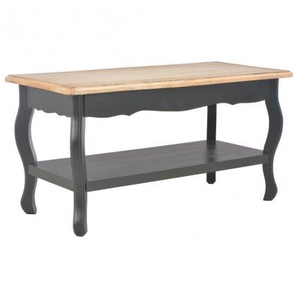 Konferenční stolek - masivní borovice - černý a hnědý | 87,5x42x44 cm