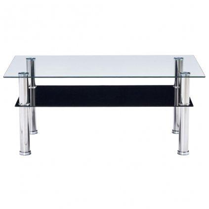 Konferenční stolek - tvrzené sklo - černý   100x60x42 cm