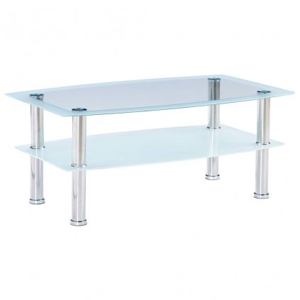 Konferenční stolek - tvrzené sklo - bílý | 100x60x42 cm
