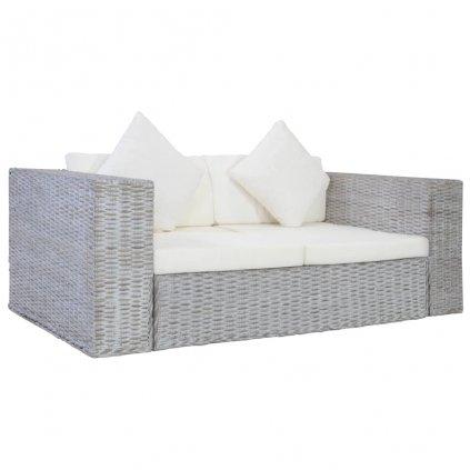 2-místná pohovka s poduškami - přírodní ratan | šedá