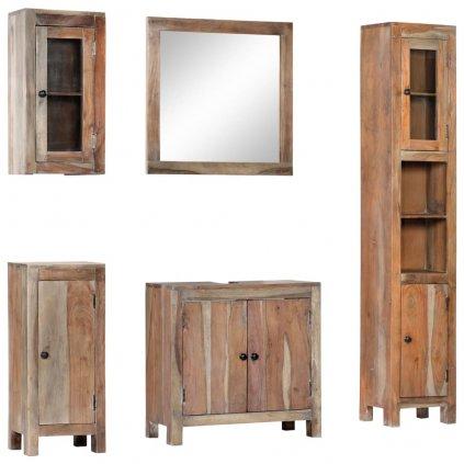 5dílný set koupelnového nábytku | masivní akáciové dřevo