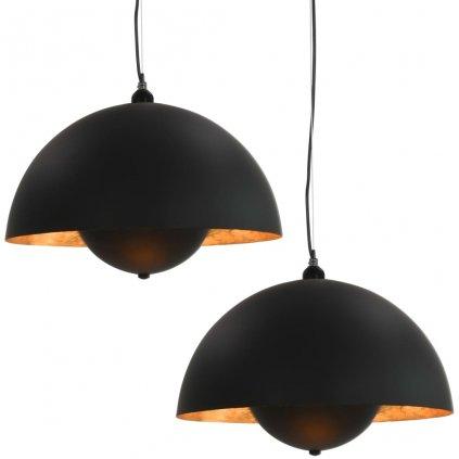 Stropní svítidla 2 ks - černo-zlatá - polokulová | 30 cm - E27