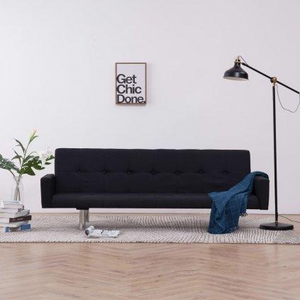 Rozkládací pohovka s područkami Lacona - polyester | černá