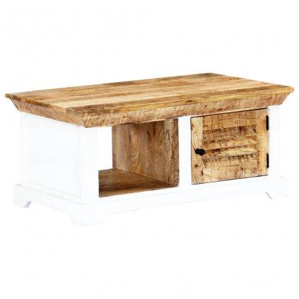 Konferenční stolek - masivní hrubý mangovník - bílohnědý | 90x50x40cm