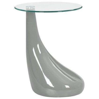 Konferenční stolek s kulatou skleněnou deskou | šedý