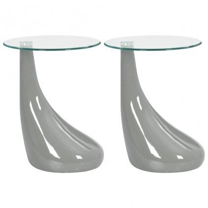 Konferenční stolky 2 ks - skleněné desky | šedé