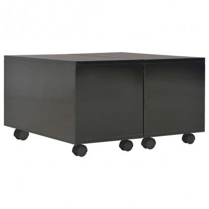 Konferenční stolek - dřevotříska - černý vysoký lesk | 60x60x35 cm