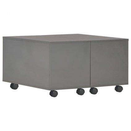 Konferenční stolek - dřevotříska - šedý vysoký lesk | 60x60x35 cm