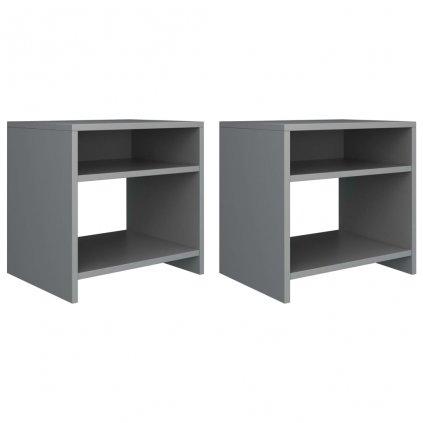 Noční stolky 2 ks - dřevotříska - šedé   40x30x40 cm