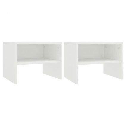 Noční stolky 2 ks - dřevotříska - bílé | 40x30x30 cm