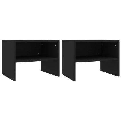 Noční stolky 2 ks - dřevotříska - černé | 40x30x30 cm