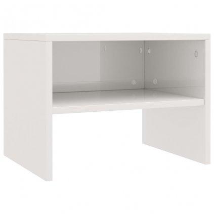 Noční stolek - dřevotříska - bílý s vysokým leskem | 40x30x30 cm