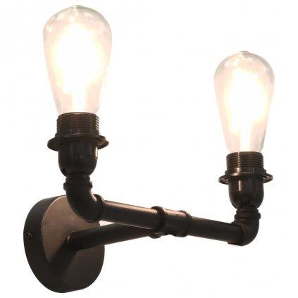 2-směrné nástěnné svítidlo Peoria - černé | 2x žárovka E27
