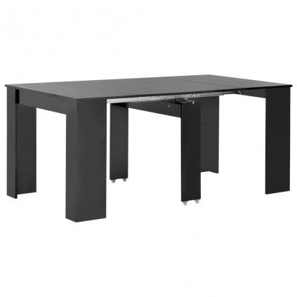 Rozkládací jídelní stůl - černý s vysokým leskem | 175x90x75 cm