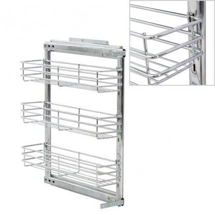 3patrový výsuvný kuchyňský drátěný koš - stříbrný | 17x51x60 cm