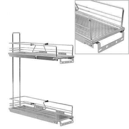 2patrový výsuvný kuchyňský drátěný koš - stříbrný | 17x51x60 cm