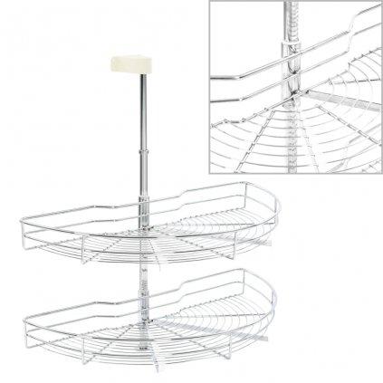 2patrový kuchyňský drátěný koš - stříbrný - 180 stupňů | 75 cm