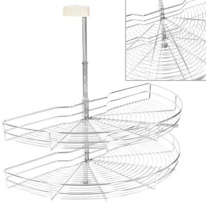 2patrový kuchyňský drátěný koš - stříbrný - 180 stupňů | 85 cm