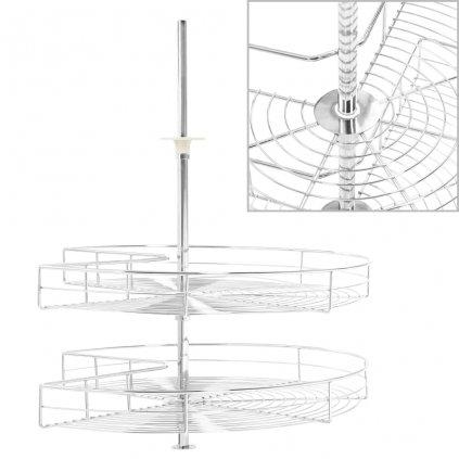 2patrový kuchyňský drátěný koš - stříbrný - 270 stupňů | 70 cm