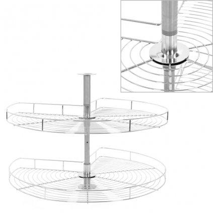 2patrový kuchyňský drátěný koš - stříbrný - 270 stupňů | 80 cm