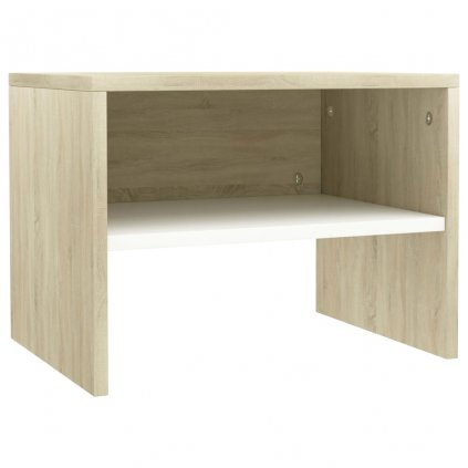 Noční stolek - dřevotříska - bílý a sonoma | 40x30x30 cm