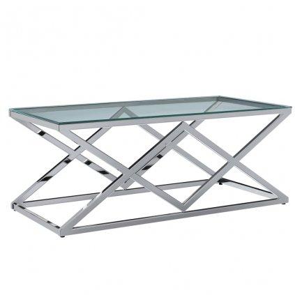 Konferenční stolek Jerome - tvrzené sklo a ocel | 120x60x45 cm