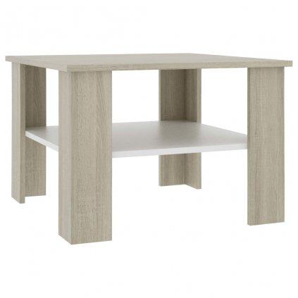 Konferenční stolek Awake - bílý a dub sonoma - dřevotříska | 60x60x42 cm
