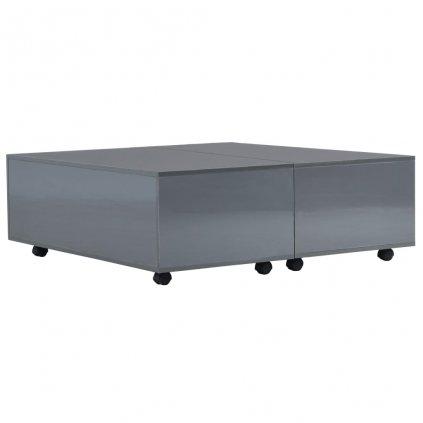 Konferenční stolek - šedý s vysokým leskem | 100x100x35 cm
