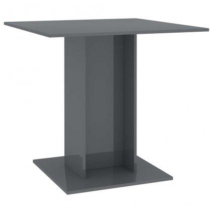 Jídelní stůl Kenni - šedý s vysokým leskem - dřevotříska | 80x80x75 cm