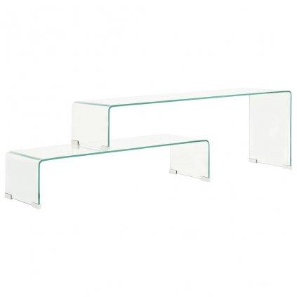 Konferenční stolek - 2-dílný - 90x30x20 - 110x30x40 cm | tvrzené sklo