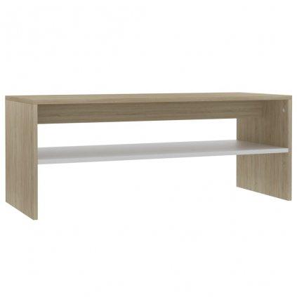 Konferenční stolek Christop - bílý a dub sonoma - dřevotříska | 100x40x40 cm