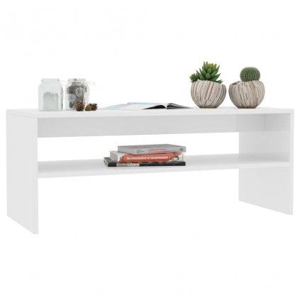Konferenční stolek Christop - bílý vysoký lesk | 100x40x40 cm