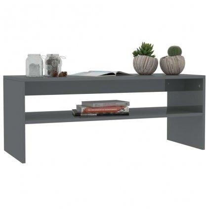 Konferenční stolek Christop - šedý vysoký lesk | 100x40x40 cm