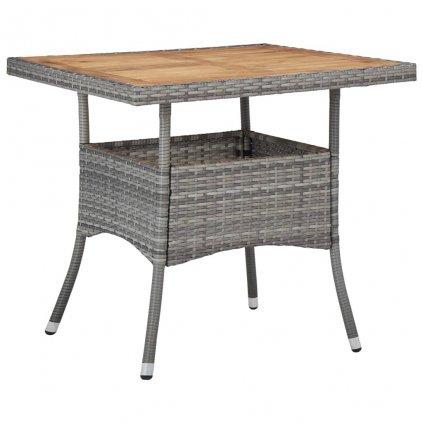 Zahradní jídelní stůl - polyratan a masivní akáciové dřevo | šedý