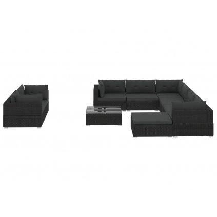 Zahradní sedací souprava Galena - 10dílná - s poduškami - polyratan | černá