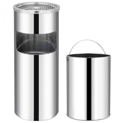 Hotelový odpadkový koš s popelníkem - 30 l | nerezová ocel
