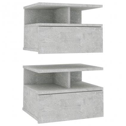 Nástěnné noční stolky Stella - 2 ks - betonově šedé | 40x31x27cm