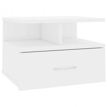Nástěnný noční stolek Stella - bílý vysoký lesk | 40x31x27 cm