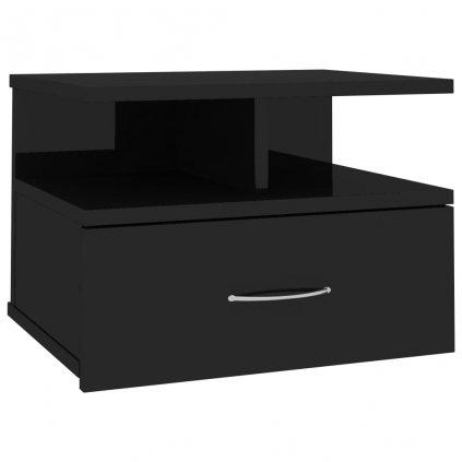 Nástěnný noční stolek Stella - černý vysoký lesk | 40x31x27 cm
