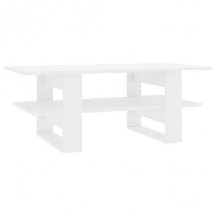 Konferenční stolek bílý vysoký lesk - dřevotříska | 110x55x42 cm