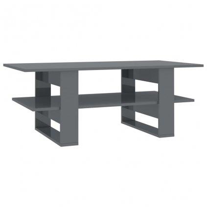Konferenční stolek - šedý vysoký lesk - dřevotříska | 110x55x42 cm