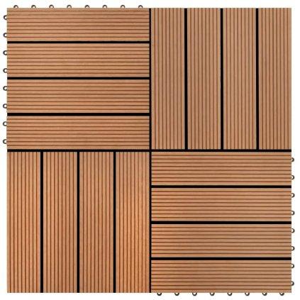 22 ks terasové dlaždice - 2m2 - WPC - hnědé | 30x30 cm