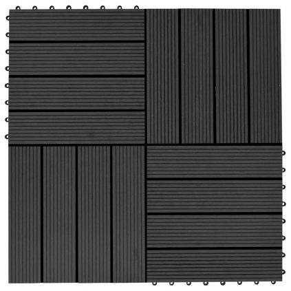 22 ks terasové dlaždice - 2m2 - WPC - černé | 30x30 cm