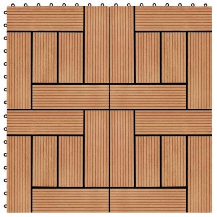 22 ks terasové dlaždice - 2m2 - WPC - barva teak | 30x30 cm